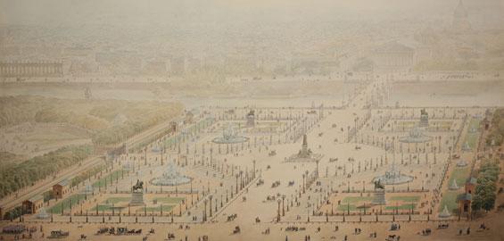 Jakob Ignaz Hittorff, Perspektivische Ansicht der Place de la Concorde 1829, Aquarellierte Federzeichnung, Graphische Sammlung, Wallraf-Richartz-Museum & Fondation Corboud, Köln