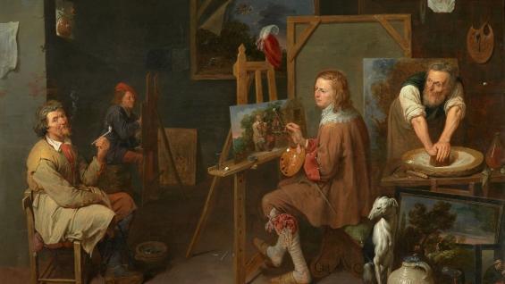 David Ryckaert III, Werkstatt des Malers, 1642, Öl auf Holz, Musée des Beaux-Arts, Dijon, Foto: François Jay