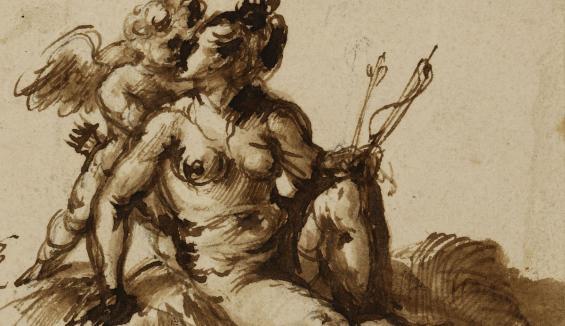 Hendrick Goudt, Venus und Amor, Vorzeichnung in Kreide, Feder in Braun, braun laviert, auf Vergé, Graphische Sammlung, Wallraf-Richartz-Museum