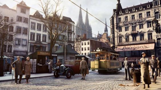 ©TimeRide Die neue Virtual-Reality-Experience von TimeRide lässt das Köln von 1926 wieder auferstehen – Straßenszenen wie hier am Alter Markt machen das Lebensgefühl der Goldenen Zwanziger in der Domstadt hautnah erlebbar.