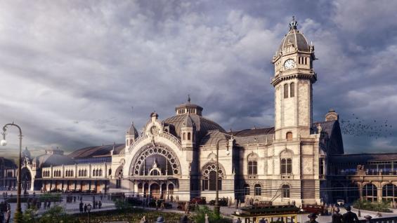 ©TimeRide Der Kölner Hauptbahnhof vom Dom aus gesehen in den 1920er Jahren.