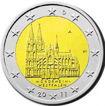 Das Kölner Wahrzeichen klein und rund: der Dom auf der Rückseite einer Zwei-Euro-Münze.