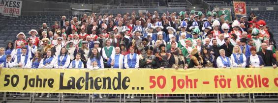 250 Mitwirkende trafen sich bei der öffentlichen Pressekonferenz zum 50. Jubiläum der Lachenden Kölnarena (Foto: Christian Rentrop)