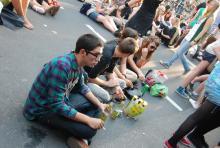 Warten auf die nächste Band Ausgelassene Stimmung beim Kölner Cityfestival (Foto: R. Gasper)