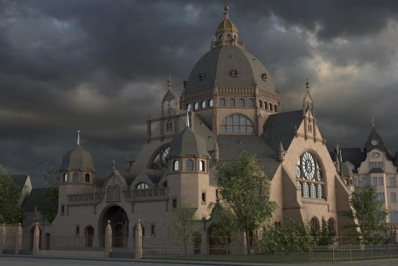 Synagoge Dortmund, Digitale Rekonstruktion © Marc Grellert, TU Darmstadt