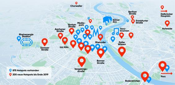 Über 1000 Antennen der NetCologne werden im Jahr 2019 die Stadt Köln mit WLAN versorgen. (Grafik: NetCologne)