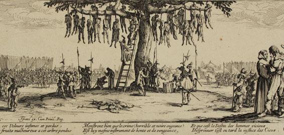 """Jacques Callot: Die Bestrafung (aus den """"Schrecken des Krieges"""", Nr. 11) Radierung, Graphische Sammlung, Wallraf-Richartz-Museum & Fondation Corboud, Köln"""