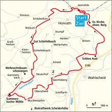 Bauernhofweg Wanderung als Kartenskizze. (Angelika Solibieda, cartomedia, Karlsruhe)