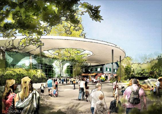 Ein Entwurf des neuen Eingangsbereichs Illustriert von Zooquariumdesign
