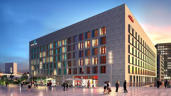 So soll das neue Hotelgebäude in der MesseCity aussehen