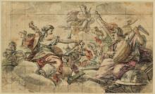 Unbekannter Künstler, Allegorie der Musik, Durchzeichnung mit Bleistift über Tusche, farbig laviert und quadriert, Graphische Sammlung, Wallraf-Richartz-Museum & Fondation Corboud, Köln