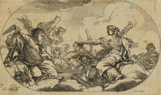 Samuel Bottschild, Allegorie der Musik um 1690, Radierung auf Vergé, Graphische Sammlung, Wallraf-Richartz-Museum & Fondation Corboud, Köln
