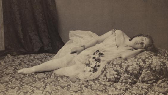 """Ulric Grob: Marie Garnier als """"Venus"""" in der Uraufführung der Oper """"Orpheus in der Unterwelt"""" von Jacques Offenbach, Paris 1858, Museum Ludwig © Foto: Museum Ludwig, Köln"""