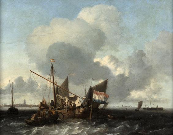 Ludolf Backhuyzen: Emden 1630 – 1708 Amsterdam, Boote auf der Zuidersee vor Naarden, 1660-63, Eichenholz, WRM 2566