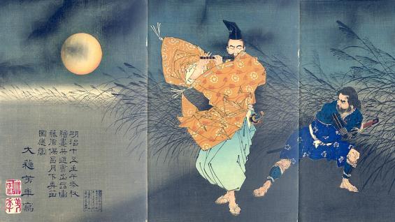 Yasumasa spielt bei Mondlicht Flöte, Tsukioka Yoshitoshi (1839-1892), Farbholzschnitt, ōban Tryptichon 114 x 75 cm, Japan, 1883 © Nihon no hanga Amsterdam