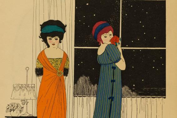 Paul Iribe, Illustration aus Les Robes du Paul Poiret, 1908, Pochoir über Strichätzung © MKG Hamburg