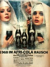 """Berauschte Nonnen laben sich 1968 an der """"Sexy-mini-super-flower-pop-op-Cola"""". Die Werbekampagne von Charles Wilp führte zu Protesten von Seiten der katholischen Kirche. (Karl Flach GmbH & Co. KG, Köln)"""