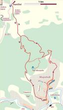 Die Wanderroute führt von Kalenborn nach Mayschoß.