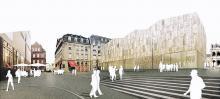 Der neue Museumsbau - im Hintergrund das Farina-Parfüm-Museum, links das Wallraf-Richartz-Museum, rechts Blick zum historischen Rathaus