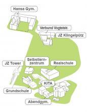 Sieben Einrichtungen beteiligen sich an der Bildungslandschaft. Eine Kita soll neu gebaut werden. Bild: Architektur- und Stadtplanungsbüro CAS