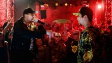 Otis (Sido) rechnet mit Eddy (B-Tight) in einem Rap-Battle ab. (Foto: Concorde Filmverleih)