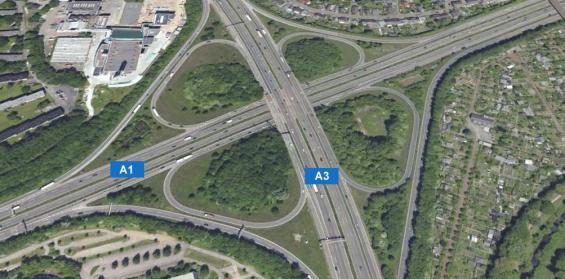 Die Autobahnbrücke am Kreuz Leverkusen. Quelle: Google Earth