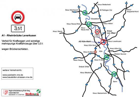 Übersicht über alternative Rheinquerungen für Lkw.