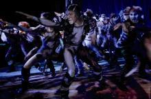 23 Katzen stürmen die Bühne bei der Premiere im Cats-Theaterzelt in Köln-Deutz.