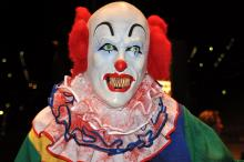 """Grusel-Clown: Vielleicht eine Kostümidee für ihren Ausflug zu """"Deutschlands größter Halloweenparty"""" am 31. Oktober in der Lanxess Arena."""