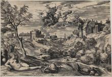 """""""Roger rettet Angelika vor dem Drachen"""": Kupferstich von Cornelis Cort nach einem Bild von Tizian (1565). @ Wallraf-Richartz-Museum & Fondation Corboud"""