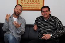 René Baumann alias DJ Bobo und koeln.de-Redakteur Helmut Löwe: Der Schweizer Superstar plauderte munter drauflos. (Foto: Claudia Mariani)