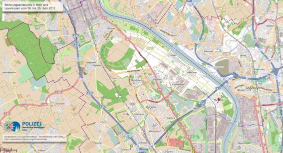 Das Einbruchsradar für die nordwestlichen/westlichen Stadtteile von Köln. Bild: Polizei Köln