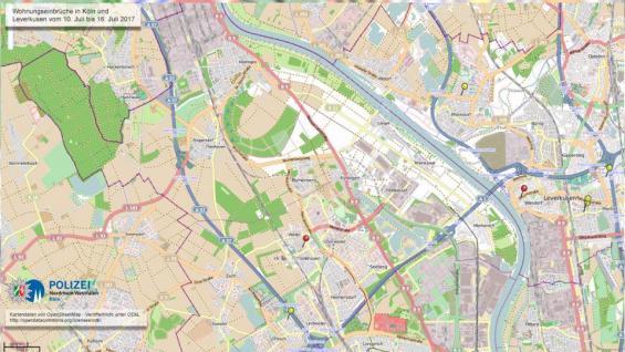 Das Einbruchsradar für die nordwestlichen/westlichen Stadtteile von Köln. Foto: Polizei Köln