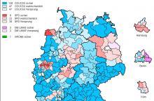 Erststimmen-Prognose auf election.de (Köln siehe rechts unten)