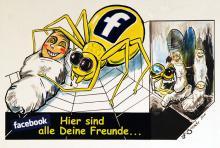 Die Spinne Facebook kontrolliert ihr soziales Netz und wickelt User ein. (Foto: Helmut Löwe)