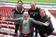 Die Fantastischen Vier: Michi Beck, Thomas D, Smudo und And.Ypsilon (v.l.n.r.) im Kölner Stadion. (Foto: Helmut Löwe)