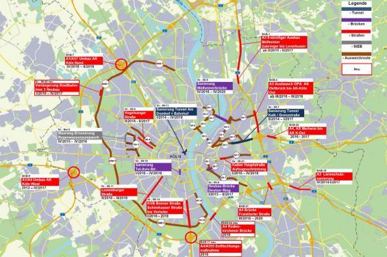 Kölns Großbaustellen 2016 in der Übersicht.