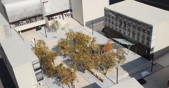Das Modell zeigt, wie der Kurt-Hackenberg-Platz einmal aussehen soll. Foto: Jürgen Schön