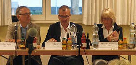 Bundestagskandidaten Hirte (CDU), Beck (Grüne), Scho-Antwerpes (SPD)