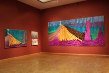 """In der Kölner """"David Hockney""""-Ausstellung: Der britische Künstler liebt fröhliche Farben und das große Format. Foto: Jürgen Schön"""