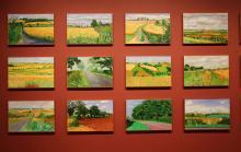 Zwölf von weit über 400 Landschaftsbildern David Hockeys im Museum Ludwig. Foto: Jürgen Schön