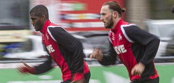 Anthony Modeste und Marco Höger machen sich im Mannschaftstraining fit für die Partie gegen Augsburg. Foto: Imago/Bopp