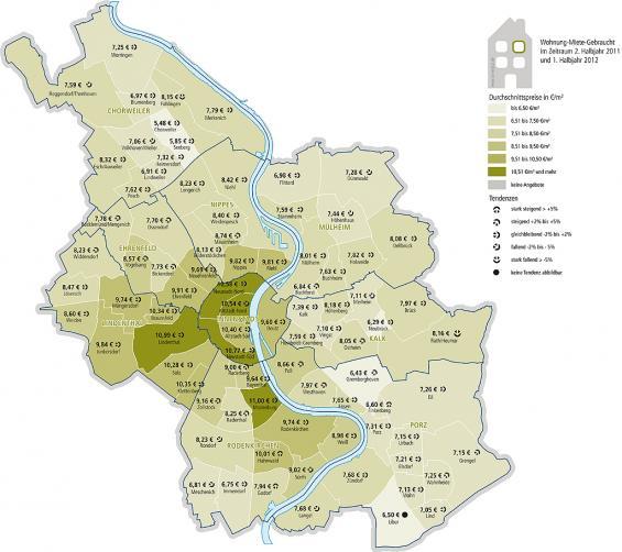 Die Kölner Mietpreise je Quadratmeter in Altbauwohnungen. Für eine größere Ansicht klicken Sie bitte auf das Lupensymbol. Daten und Grafik: Kampmeyer Immobilien