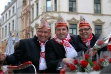 Das Kölner Dreigestirn 2013: Jungfrau Katharina, Prinz Ralf III. und Bauer Dirk (v.l.n.r.) (Foto: Viola Niedenhoff)