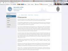 Auf seiner Homepage ruft das Anatomische Institut der Uni Köln weiterhin zu Körperspenden auf. (Screenshot: www.anatomie.uni-koeln.de)
