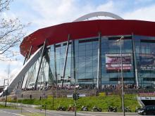 """Die Kölner Lanxess Arena: Im Volksmund """"Henkelmännchen"""" genannt. (Foto: Helmut Löwe)"""