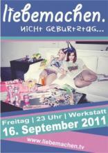 Der Flyer zur Party. (Quelle: liebemachen.tv)