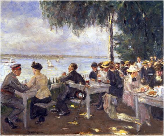 """Ein Klassiker des deutschen Impressionismus, jetzt in Köln: Max Liebermanns """"Gartenlokal an der Havel"""" (1916). @ Staatliche Museen zu Berlin, Nationalgalerie"""