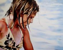 """Joanna Jesse """"Mädchen am Strand"""" 110x140cm,Öl auf Leinwand. (Mehr von Joanna Jesse in der Art Galerie 7, www.artgalerie7.de)"""