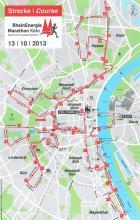 Die Laufstrecke des Kölnmarathons 2013 endet am Kölner Dom.